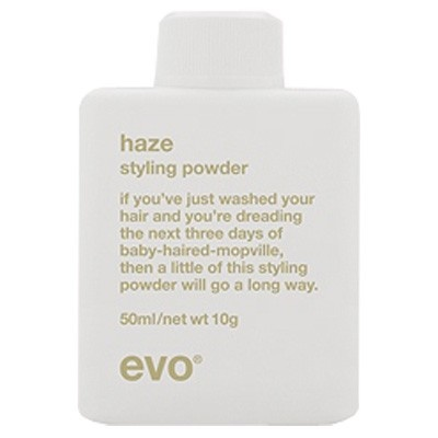 EVO HAZE STYLING POWDER 50ml - if you've just washed your hair and you're dreading the next three days of baby-haired-mopville, then a little of this styling powder will go a long way. £13.95