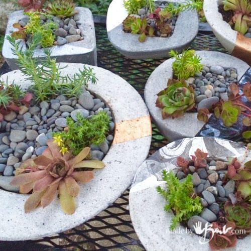 Large Concrete Planter Fairy Garden DIY