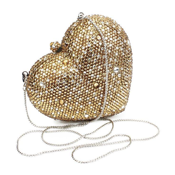 Aliexpress.com: Comprar 2016 del color del oro de forma de corazón bolsos de embrague cena mujeres bolsos con cadena de color oro (B1014 HG) de bolsa fiable proveedores en BEST BELING