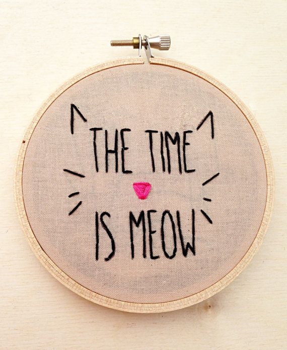 The Time is Meow Funny Cat Kitten Crazy Cat by cardinalandfitz