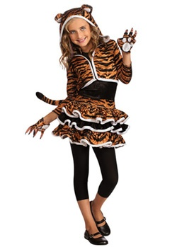 Child Tigress Hoodie Costume | Cheap Animals Halloween Costume for Girls