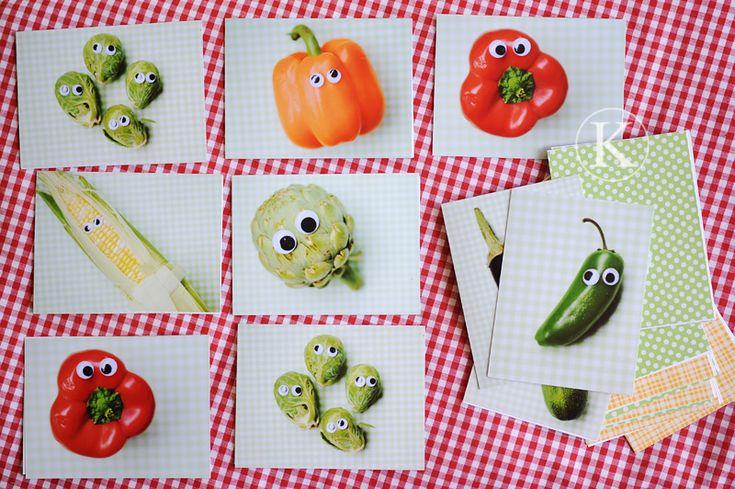 Aan de slag met wiebeloogjes, groenten en een fototoestel, en in een wip maak je een vrolijke groentenmemory :)