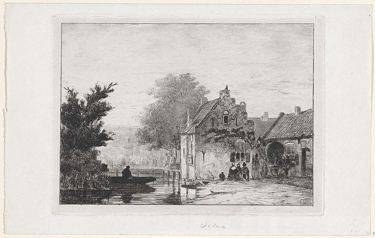 Jan Weissenbruch | Markt te Boxtel, Jan Weissenbruch, 1849 | In de verte is een druk marktplein te zien. Links vaart een man in een boot over een klein kanaal. Rechts zitten enkele figuren voor een huis met een trapgevel. Op de weg ernaast staat een paard-en-wagen.