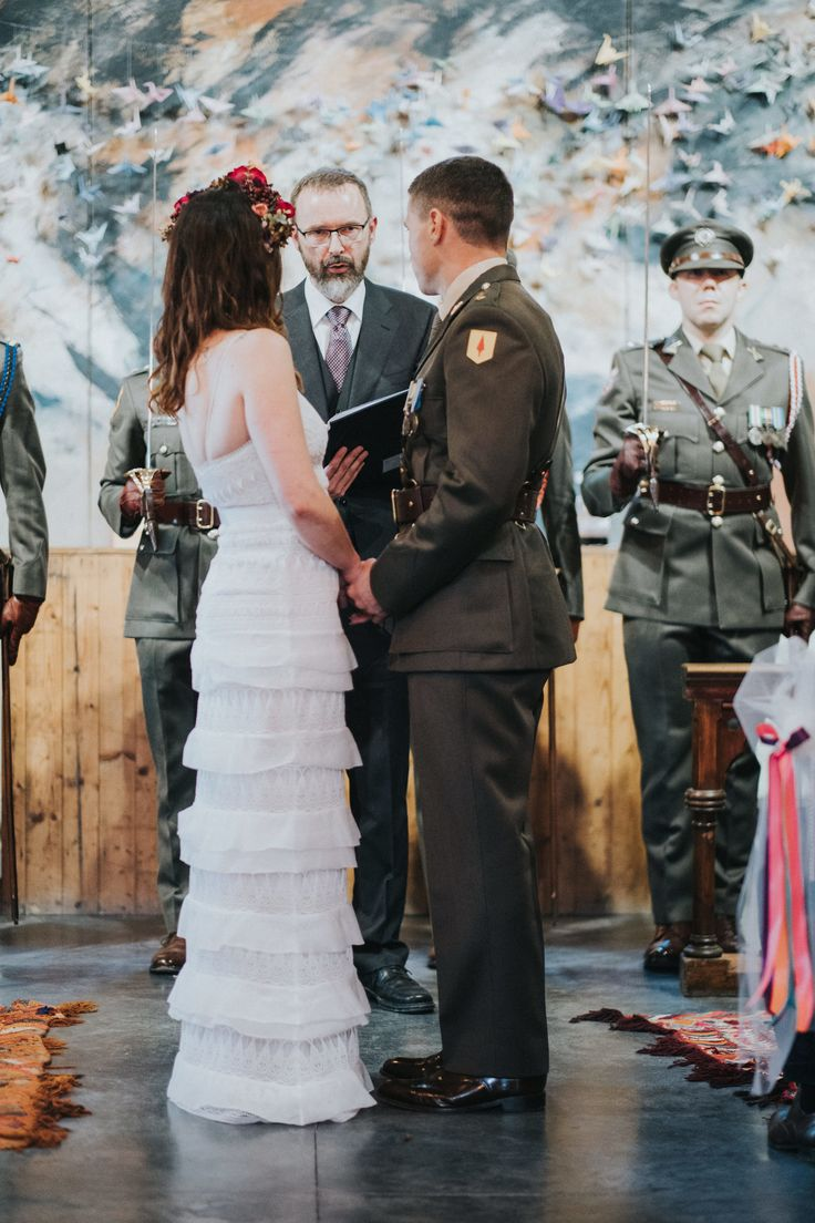 Jen & Ian, an officer in the Irish army, Humanist wedding conducted by Joe Armstrong with Guard of Honour, Mount Druid, 30 August 2017