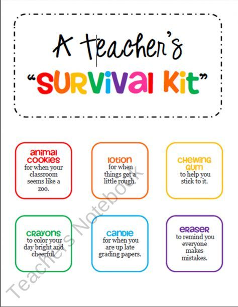 Teacher Survival Kit Tags - Gift for a New Teacher or Student Teacher from cokerfamily6 on TeachersNotebook.com (2 pages)  - Collect items and attach these colorful tags before placing in a bag, basket, or box. This makes a great gift for a new teacher or a student teacher.