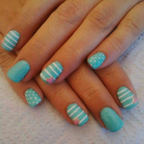 Turquoise n white striped