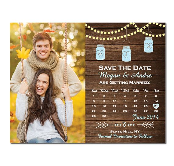 mason jar save the date magnet or card rustic save the