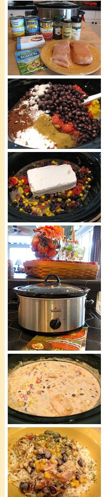 Put the chicken in the crock pot. Top with the tomatoes, corn,the drained and rinsed beans,ranch dressing, cumin, onion and chili powders,stir…
