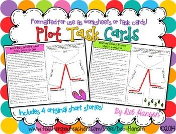 Plot Task Cards- contains 4 short stories.  Students must identify 5 plot points for each story (exposition, rising action, climax, falling action, conclusion).  Formatted to be used as plot worksheets or plot task cards!