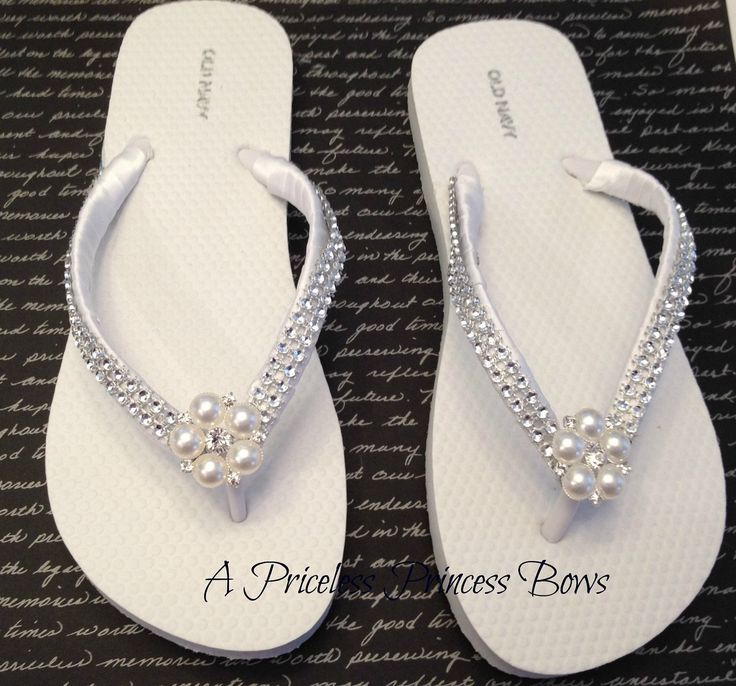 White Satin Wedding Pearl & Bling Flip Flops Womens Bridal Bridesmaid Prom…