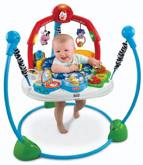 "This #jumper is full of fun ways to motivate your baby's jumping and movement. Its farm-themed toys and music allow your baby to experience lights and five fun songs. There is a ""musical fun"" mode on the jumper just for music, and an ""early learning fun"" mode for very young #children to enjoy."