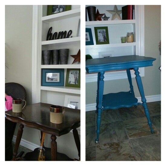 Antique table painted teal and gently distressed.