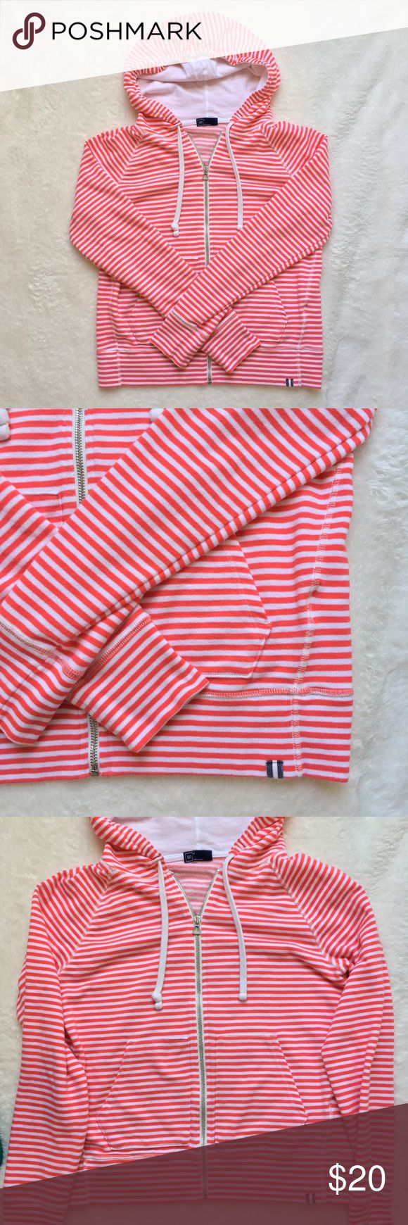 GAP Red & White Striped Zip Up Hoodie Women's M GAP Red & White Striped Zip Up Hoodie Women's M. Women's medium hoodie in excellent condition. Classic two pockets, soft spun cotton. GAP Tops Sweatshirts & Hoodies