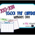 FREE colorful PDF calendar for the 2013-2014 school year (Aug-Jun)...weekdays only!
