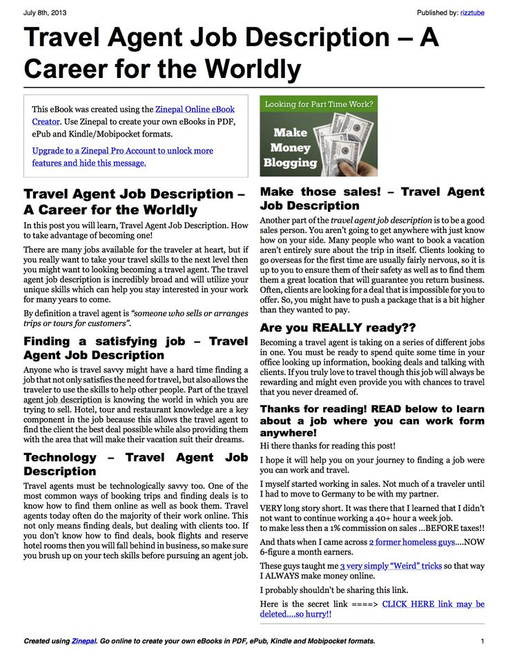 A Career for the Worldly Wanderlust Pinterest Travel agent - travel agent job description