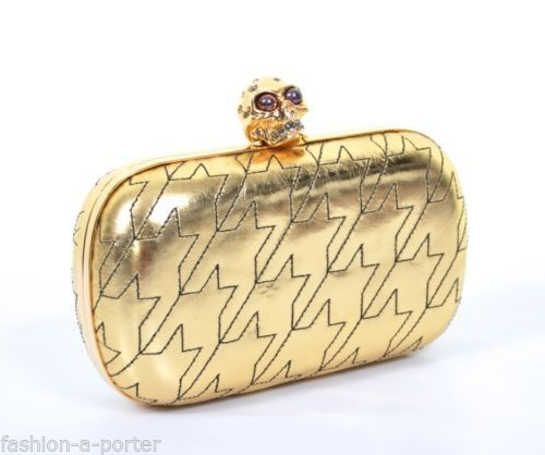 ALEXANDER-McQUEEN-F-W-2009-GOLD-DOGTOOTH-SKULL-LEATHER-BOX-CLUTCH-VERY-RARE-BNWT