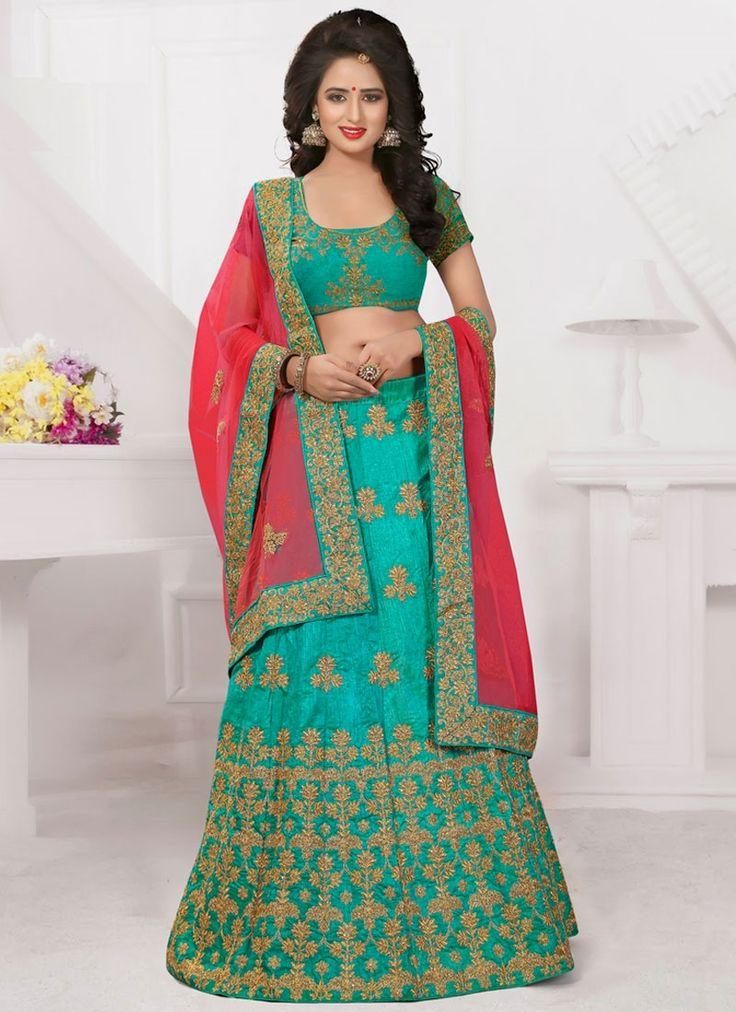 Buy lehenga choli online for latest designs at an affordable cost. Buy this phenomenal art silk lehenga choli.
