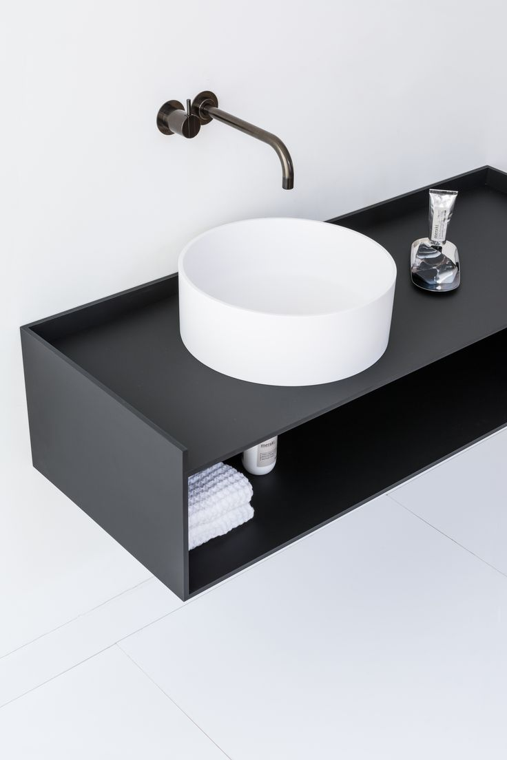 The basic principles of the Scene cabinet collection are identity, intimacy, scalability and tactility. | #basin #bathroom #black #white #soap #decor #styling #interior
