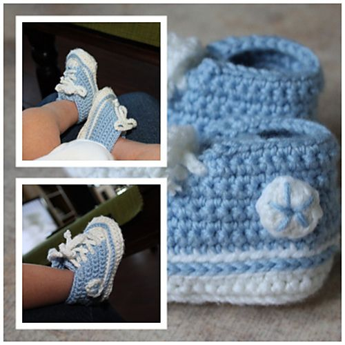 Crochet Baby Booties High Top Converse Style Pattern : 17 Best images about Baby Shoes - Converse on Pinterest ...