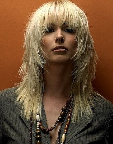 Long Choppy Haircut with Blonde Hair Color and Bangs Hair for Women