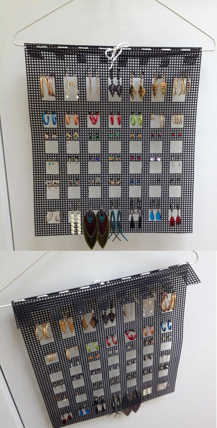 Easy (& cheap!) earring holder. Take one sheet of plastic needlework canvas. Cut out a series of holes in the grid.  Cut out an extra strip and snip it to fit the same as a section of the top, then weave the ribbon through the top rows and tie.  It can just be hung over a wire hanger.  If you want you can tack down the back part, but I left it just hanging so I can easily take it off if I want.