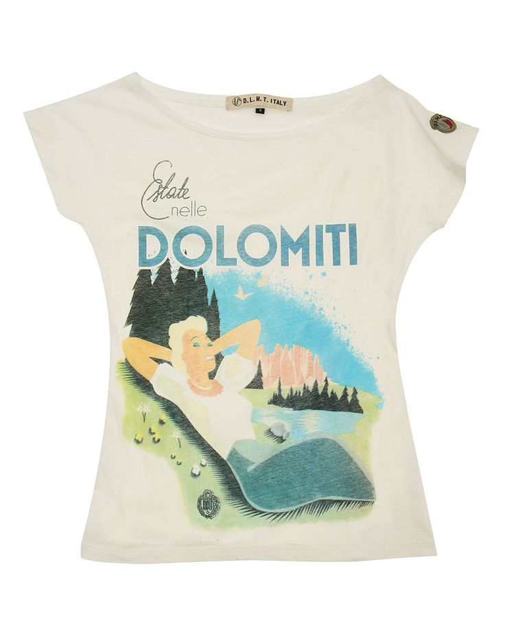 T-shirt woman Summer in the Dolomites, soft style, short sleeve. Summer in the Dolomites vintage, Made in Italy.