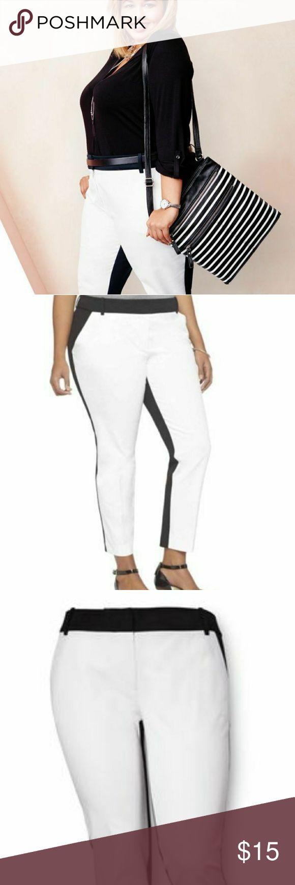 Nwt Ava & Viv colorblock slacks business casual Nwt Ava & viv colorblock black and white slacks. Multiple sizes available. Skinny fit at bottom shape enhancing panel. Mid rise, ankle length. Ava & Viv Pants Skinny