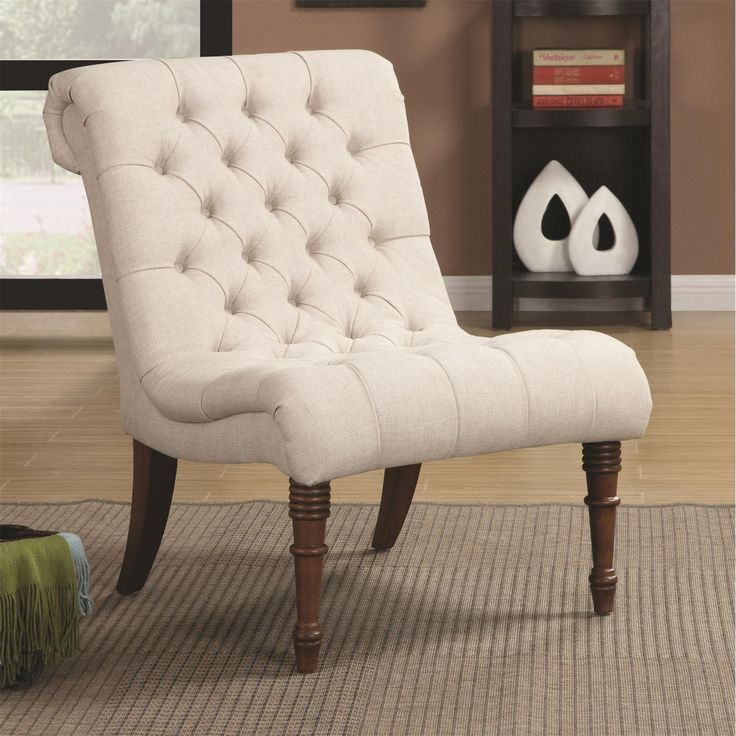 Coaster Furniture 902176 Curved Accent Chair In Oatmeal