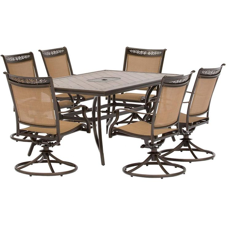 "7pc Dining Set: 40x68"" tile top table, 6 sling swivel rockers, cover"