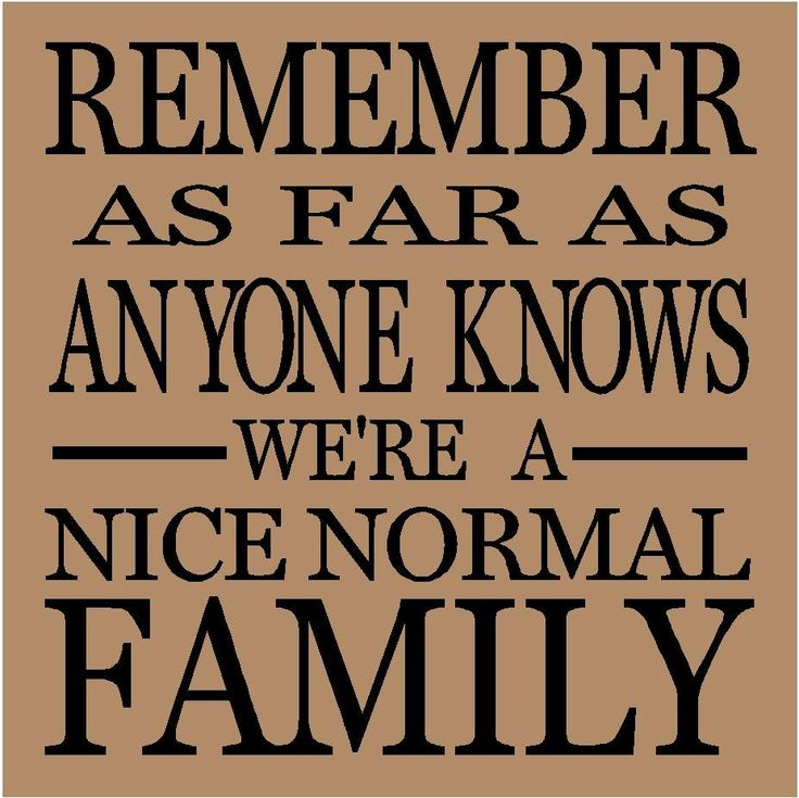 T111- Remember as far as anyone knows we're a nice normal family  12x12 vinyl wall decals lettering sayings quote stickers. $7.99, via Etsy.