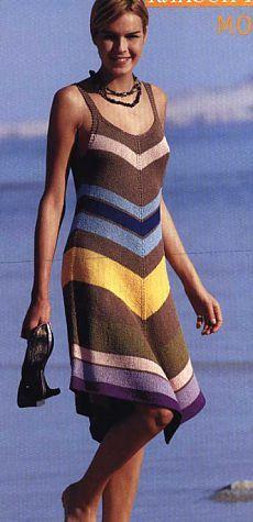 Vestido de rayas ... para la máquina de tejer ....
