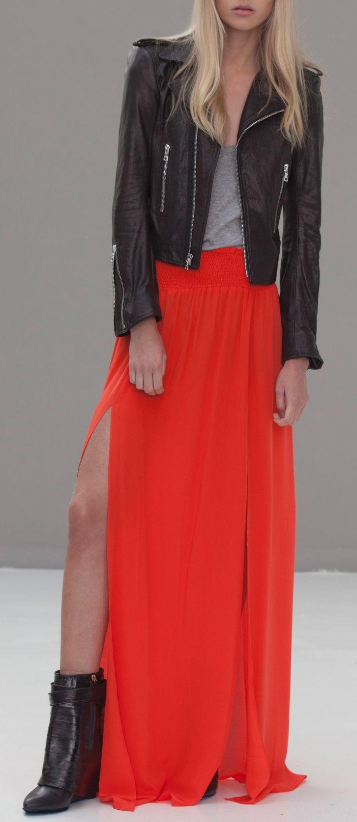 maxi moto jacket style maxi skirts
