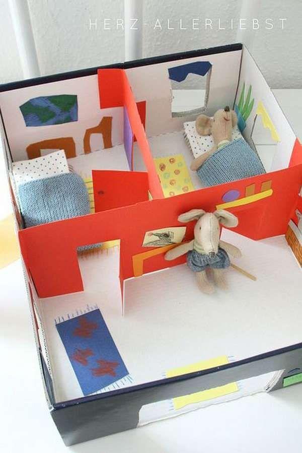 Maison de poupée DIY avec de la récup. 17 Idées étonnantes pour recycler les boites à chaussures