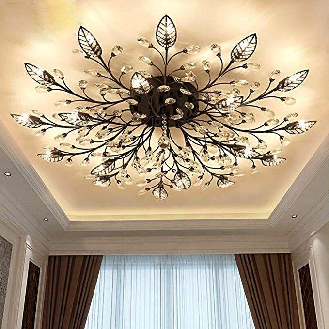 Diy Familymodern Crystal Led Ceiling Lampi œleaf Flush Mount Ceiling Light Fix In 2020 Light Fixtures Bedroom Ceiling Bedroom Light Fixtures Living Room Light Fixtures