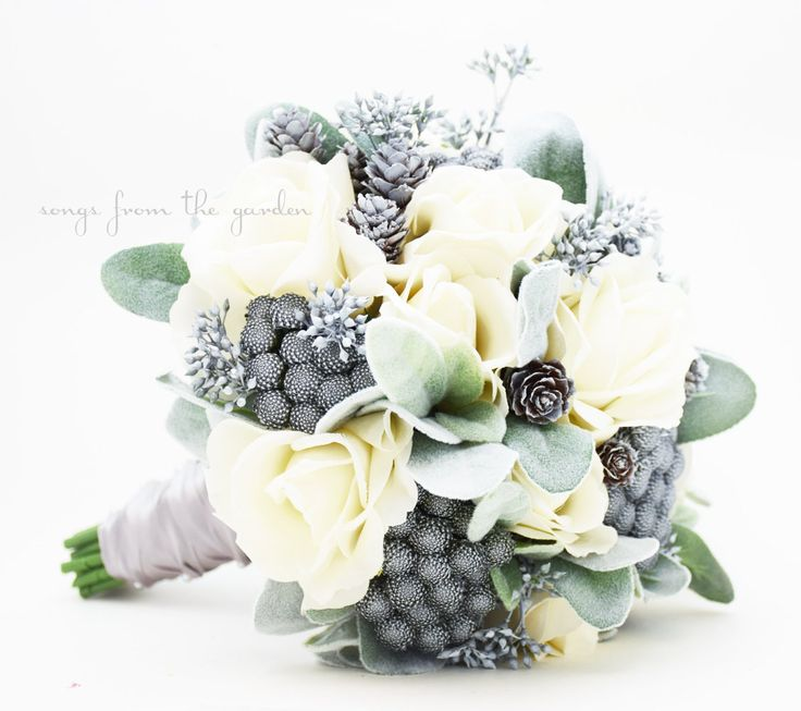 Winter Wedding Grey & White Bridal Bouquet Brunia Eucalyptus Pine Cones Real Touch Roses Groom's Boutonniere