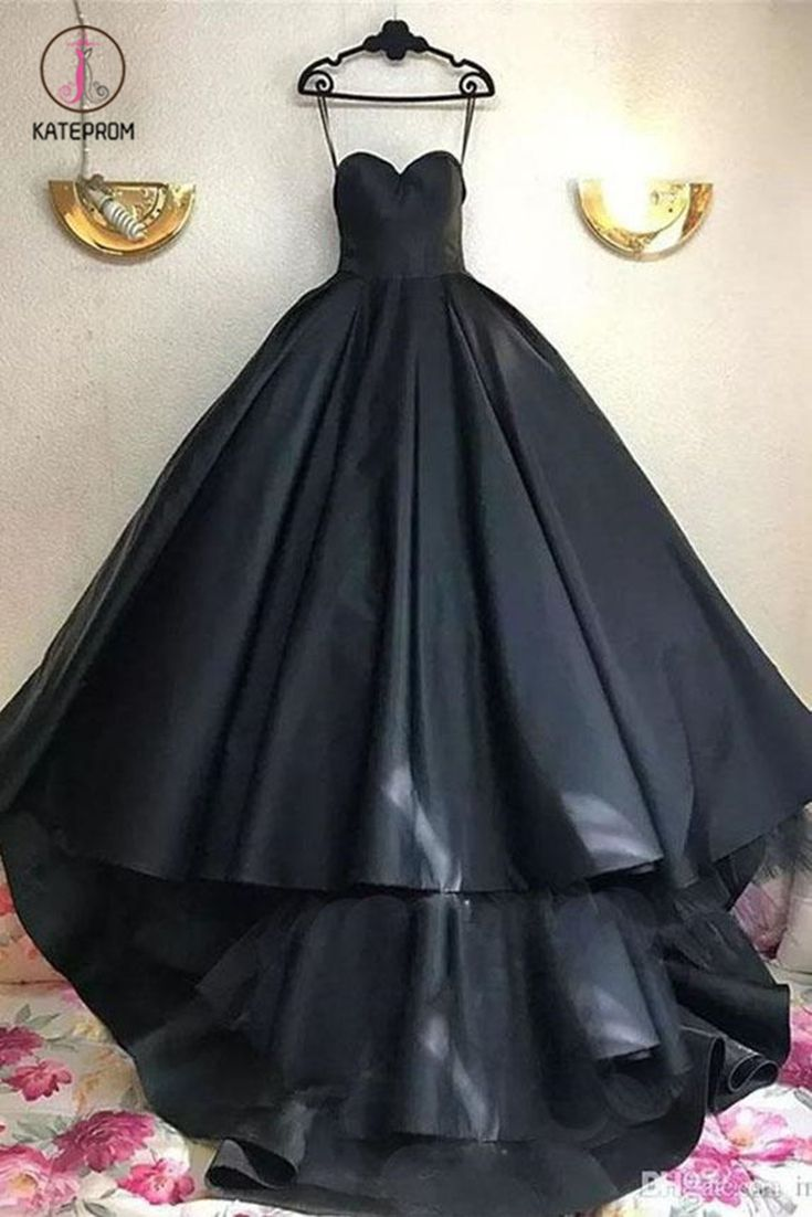 Long Black Sweetheart Prom Dress With Train Charming Long Ruched Evening Dress Kpp0620 Prom Dress With Train Evening Dresses Long Black Ball Gown [ 1102 x 735 Pixel ]