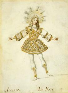 Людовик XIV танцует Аполлона,«Свадьба Пелея и Фетиды» (1654).В 1658г.темой очеред.придвор.балета,поставл.14 февр., был выбран не веселый маскарад,а история Альсидианы и Полександра,что стало поворотом в истории придв.балета,в его стиле и духе.Жанр буффонных и бурлескных сценок постеп.уходил в прошлое,ему на смену пришли героичность и прециозность.Героический балет главенств.до того времени,пока танцевал король,до 1670г.