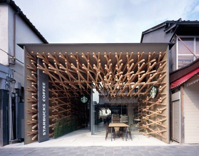 Beautiful Weaved Wood Starbucks Café in Japan