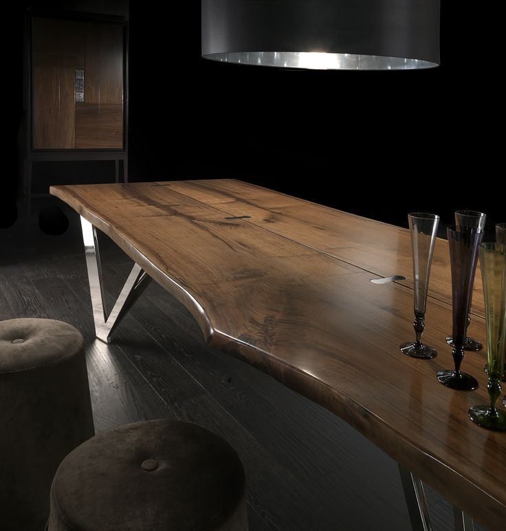NATURAL WALNUT WOOD DINING TABLE - Leonardo Collection