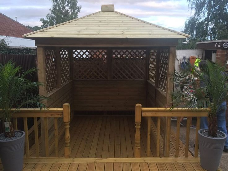 Gazebo Hot Tub Shelter Wooden Seating Area Garden Bar Wood Private And Enclosed Gardens