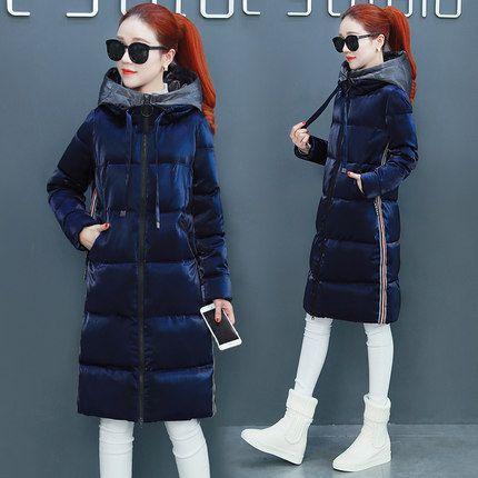 Хлопок с длинными рукавами женщин пуховик 2017 зимой новый тонкий корейский прилив был тонким над коленом куртка