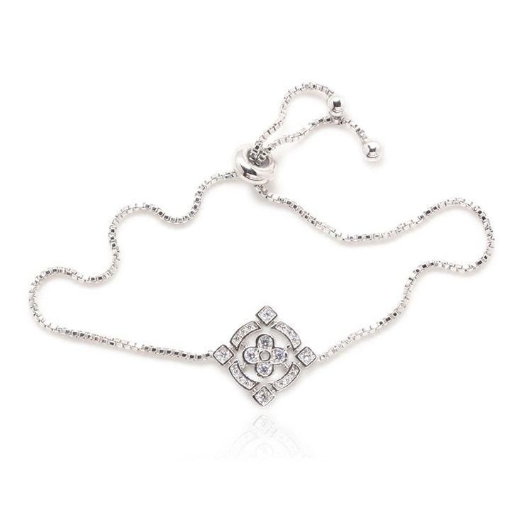 Amazon.com: Budding Flower Luxury Bracelet 20 Round Cubic Zirconia Silver Plated Box Chain: Jewelry