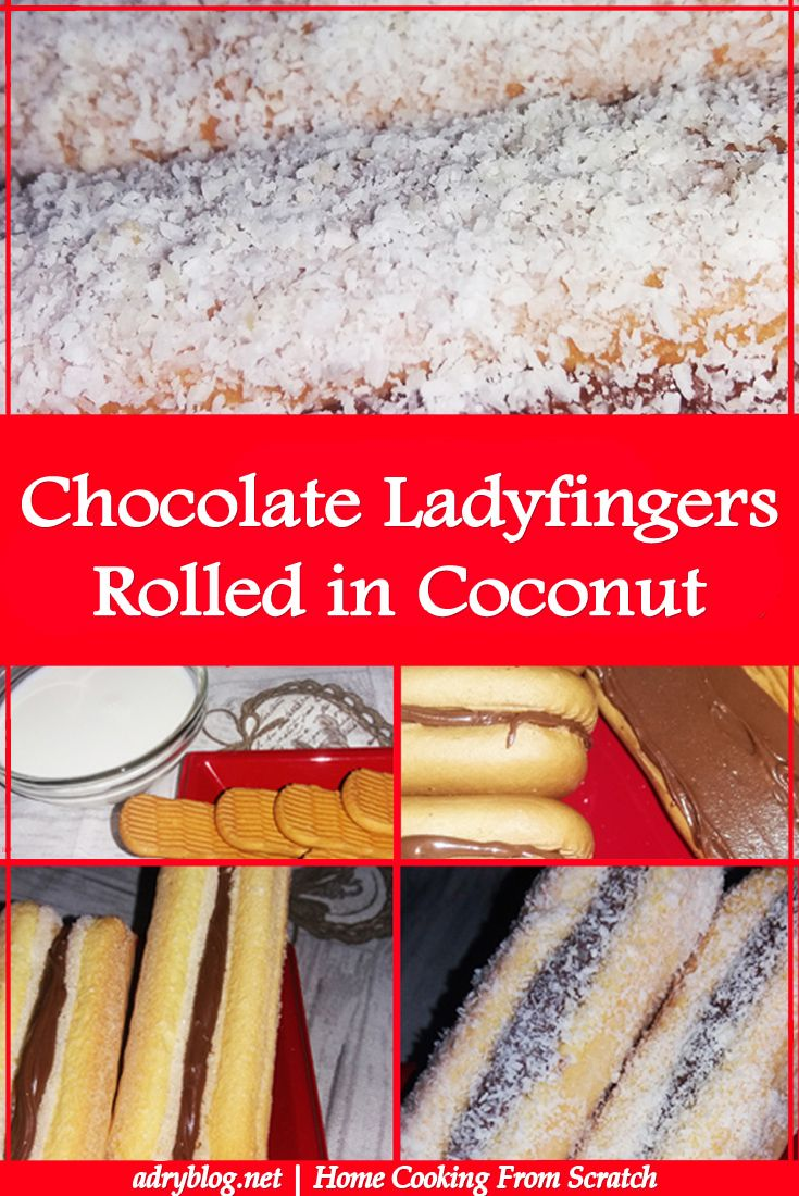 chocolate ladyfingers rolled in coconut