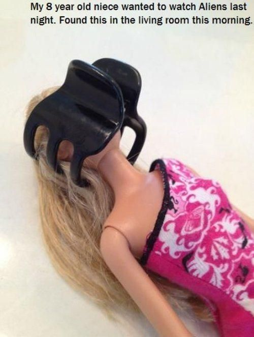 A Barbie was attacked by an alien