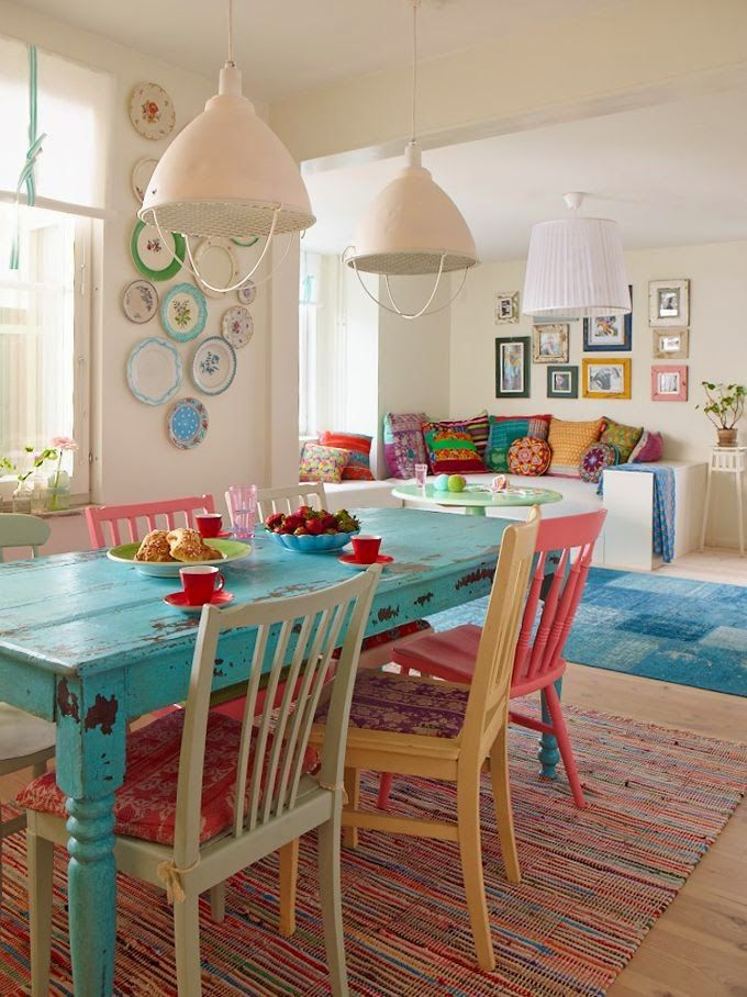 Color idea - mix all color in main room. Emphasis on turquoise as unifying color.