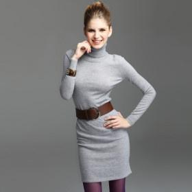 TS Turtle Neck Long Sleeve Jersey Cashmere Dress(4 Colors)   79.99 USD   Whole Sale