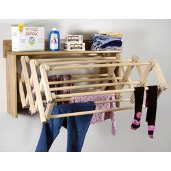 Space-saving accordian wall clothes dryer from Lehman's.