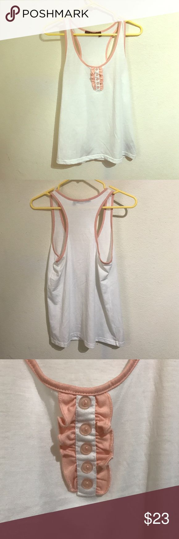 Cute White Tank Top White tank top with pink detail around the neck. Only use once. Papaya Clothing  Tops Tank Tops