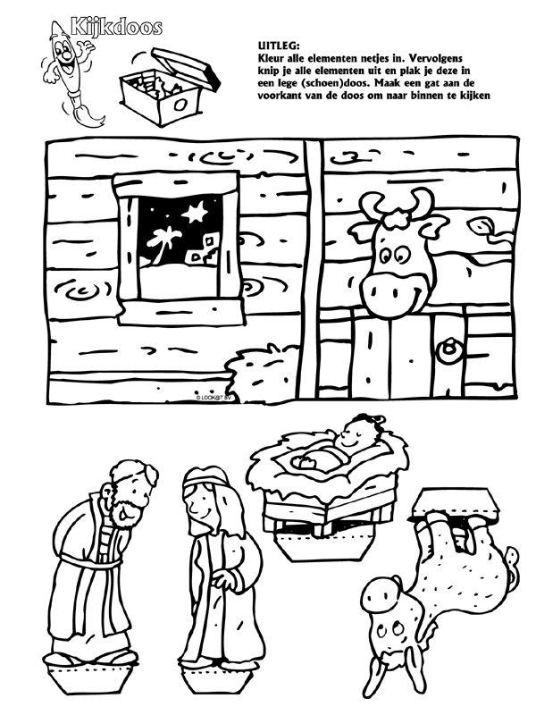 DIY; a Viewing- Box to make your own Christmas Stable with Maria, Joseph and Baby Jesus ~ Maak jouw eigen Kerstmis - Kijkdoos van een schoenendoos, met de figuren Josef, Maria en Baby Jezus.