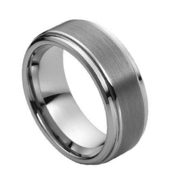 Men's 8mm Tungsten Carbide Wedding Band Ring with Step Down Edges  | eBay